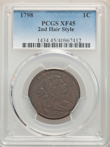 1798 Second Hair Style, BN 45 PCGS
