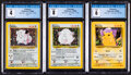 Memorabilia:Trading Cards, Pokémon Unlimited Base Set Trading Cards Group of 3 (Wizards of the Coast, 2000) CGC Graded.... (Total: 3 )