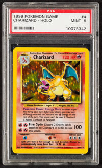 Pokémon Charizard #4 Unlimited Base Set Rare Hologram Trading Card (Wizards of the Coast, 1999) PSA MINT 9