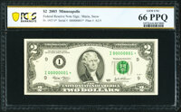 Serial Number 1 Fr. 1937-I* $2 2003 Federal Reserve Star Note. PCGS Banknote Gem Unc 66 PPQ