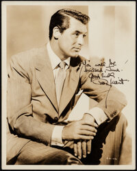 """Cary Grant (Warner Bros., 1940s). Very Fine+. Signed Portrait Photo (8"""" X 10""""). Miscellaneous"""
