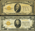 Small Size:Gold Certificates, Fr. 2400 $10 1928 Gold Certificate. Very Good-Fine;. Fr. 2402 $20 1928 Gold Certificate. Very Fine.. ... (Total: 2 notes)