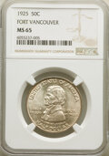 Commemorative Silver, 1925 50C Vancouver MS65 NGC. NGC Census: (576/307). PCGS Population: (763/480). MS65. Mintage 14,994. ...