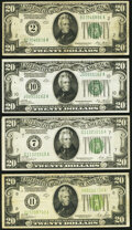 Small Size:Federal Reserve Notes, Fr. 2050-B; J $20 1928 Federal Reserve Notes. Very Fine or Better;. Fr. 2051-G $20 1928A Federal Reserve Note. Very Fine-E... (Total: 4 notes)