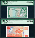 Brunei and Singapore Group Lot of 4 High Grade Examples PCGS Superb Gem New 68PPQ; Superb Gem New 67 PPQ (2); Gem New 66...
