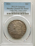 Bust Half Dollars, 1834 50C Large Date, Large Letters, -- Harshly Cleaned -- PCGS Genuine. XF Details. Mintage 6,412,004....