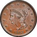 1843 1C Petite Head, Large Letters, N-4, R.1, MS63 Brown NGC. CAC....(PCGS# 403922)