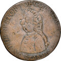 Colonials, 1766 Pitt Halfpenny--Brockage, Damaged--NGC Details. VF. Betts-519, W-8350, R.3....