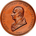 Indian Peace Medals, 1841-Dated (Post-1861) John Tyler Peace Medal, Large Size, Second Reverse, Julian IP-21, Bronze, MS63 Brown NGC. ...