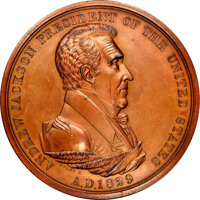 1829-Dated (Post-1861) Andrew Jackson Peace Medal, Large Size, Second Reverse, Julian IP-14, MS66 Brown NGC