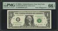 Radar Serial Numbers 63866836 and 63966936 Fr. 1930-B $1 2003A Federal Reserve Notes. PMG Gem Uncirculated 66 EPQ. ... (...