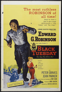 "Black Tuesday (United Artists, 1955). One Sheet (27"" X 41""). Crime. Starring Edward G. Robinson, Peter Graves..."