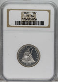 Proof Seated Quarters: , 1867 25C PR64 NGC. Both major motifs are frosty, although the pieceis undesignated as Cameo. This brilliant near-Gem is li...