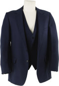 Music Memorabilia:Costumes, Elvis Presley Blue Suit Coat with Matching Vest. A blue suit coatand vest from a three-piece outfit owned and worn by Elvis...