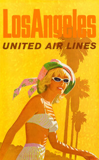 "United Airlines: Los Angeles (United Airlines, 1960s). Rolled, Very Fine/Near Mint. Full-Bleed Travel Poster (25"" X..."