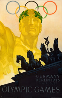 1936 Olympic Games (Propaganda Committee for the Olympic Games, 1936). Rolled, Very Fine. Full-Bleed German Poster (25&q...
