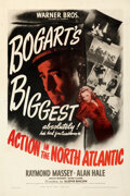 """Movie Posters:War, Action in the North Atlantic (Warner Bros., 1943). Fine Very Fine on Linen. One Sheet (27"""" X 41"""").. ..."""