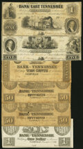 Obsoletes By State:Tennessee, Knoxville, TN- Bank of East Tennessee, Payable at Jonesboro $1; $5 May 1, 1854 Fine or Better;. Nashville, TN- Bank of... (Total: 6 notes)