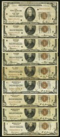 Fr. 1870-B; G (3); H; I (4) $20 1929 Federal Reserve Bank Notes. Very Good to Very Fine