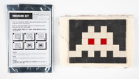 Invader (b. 1969) Invasion Kit #1: Albinos, 2002 Ceramic tiles on plaster wall section 5-1/2 x 7-