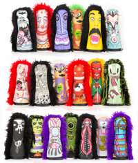 Circus Punks X Various Artists Circus Punks (19 works), 2004-2010 Screenprints on stuffed fabric with wooden base 15...