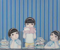 Liu Tingting (b. 1983) A Book from the Sky, 2012 Oil on canvas 43-1/2 x 51-1/2 inches (110.5 x 13