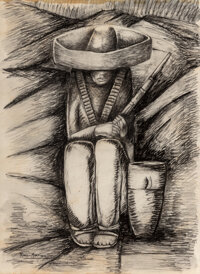 Alfredo Ramos Martinez (1871-1946) Zapatista Asentado, circa 1932 Conte crayon and wash on paper 24 x 14 inches (61.0