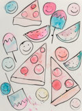 Works on Paper, Katherine Bernhardt (b. 1975). Pizza and Popsicles, 2013. Acrylic and watercolor on paper. 24 x 18 inches (61 x 45.7 cm)...
