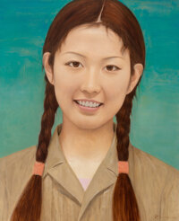 Qi Zhilong (b. 1962) Female Student, 2009 Oil on canvas 86 x 71 inches (218.4 x 180.3 cm) Sign