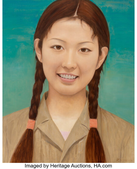 Qi Zhilong (b. 1962) Female Student, 2009 Oil on canvas 86 x 71 inches (218.4 x 180.3 cm) Signed and dated lower rig...