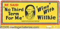 Political:3D & Other Display (1896-present), WILLKIE LICENSE PLATE. This classic 1940-dated variety is quite ...