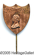Political:Ferrotypes / Photo Badges (pre-1896), VERY RARE AND IMPORTANT 1852 WINFIELD SCOTT BRASS SHELL PIN. ...
