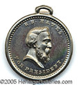 Political:Ferrotypes / Photo Badges (pre-1896), EXTREMELY RARE 1876 HAYES UNIFACE SHELL. Silvered metal, with...