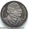 Political:Tokens & Medals, RARE SILVER GROVER CLEVELAND CAMPAIGN MEDAL. Listed as 1892-13 i...