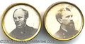 Political:Ferrotypes / Photo Badges (pre-1896), CHOICE PAIR OF 1868 SEYMOUR AND BLAIR STUDS. These distinctive i...