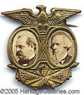 "Political:Ferrotypes / Photo Badges (pre-1896), PRISTINE 1888 CLEVELAND-THURMAN JUGATE. For those condition ""nut..."