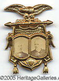 Political:Ferrotypes / Photo Badges (pre-1896), KEY 1892 CLEVELAND-STEVENSON JUGATE IN PRISTINE CONDITION. Th...