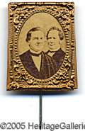 Political:Ferrotypes / Photo Badges (pre-1896), CHOICE 1876 TILDEN-HENDRICKS JUGATE. A key jugate in gorgeous sh...