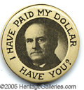 """Political:Pinback Buttons (1896-present), BRYAN VARIETY. Don't recall seeing this 1 1/4"""" variety before.&n..."""