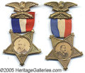 Political:Ferrotypes / Photo Badges (pre-1896), FINE PAIR OF FANCY CLEVELAND AND HARRISON BADGES. Choice conditi...
