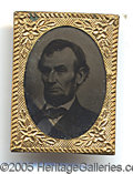 Photography:Tintypes, GEM-SIZED LINCOLN TINTYPE. Gem-sized Lincoln tintype, with beard...
