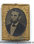 Photography:Tintypes, UNUSUAL LINCOLN GEN-SIZED TINTYPE. Unusual Lincoln gem-sized tin...