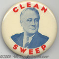 "Political:Pinback Buttons (1896-present), RARE 3 1/2"" FDR VARIETY. Dramatic and rare large button in super..."
