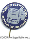 Political:Pinback Buttons (1896-present), GREAT 1932 ANTI-HOOVER BUTTON. Highly-collected dinner bucket th...