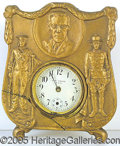 Political:Miscellaneous Political, GREAT WWI WOODROW WILSON CLOCK. Faux brass finish.  Feat...