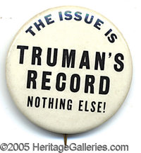 "RARE 1 1/2"" TRUMAN VARIETY. Rare 1 1/2"" Truman.  Guess this distinctive button could be pro or anti H..."