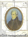 """Political:3D & Other Display (pre-1896), HANDPAINTED MINIATURE OF ANDREW JACKSON ON IVOY.. Signed """"Sab..."""