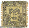 Political:Textile Display (1896-present), FINE TEDDY ROOSEVELT WOVEN TABLE COVER. Features a young TR i...