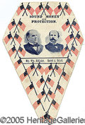 "Political:Textile Display (1896-present), GREAT 1896 MCKINLEY-HOBART POLITICAL PARADE ITEM. 4 x 6,"" made o..."