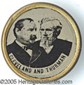 Political:Ferrotypes / Photo Badges (pre-1896), CLEVELAND THURMAN FERROTYPE. Very rare 1888 ferrotype Clevela...